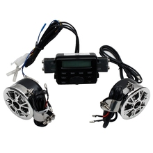 Hot TTKK Motorcycle Sound System Handlebar Mount 2 Speakers Fm Radio Audio Mp3 Stereo 12V