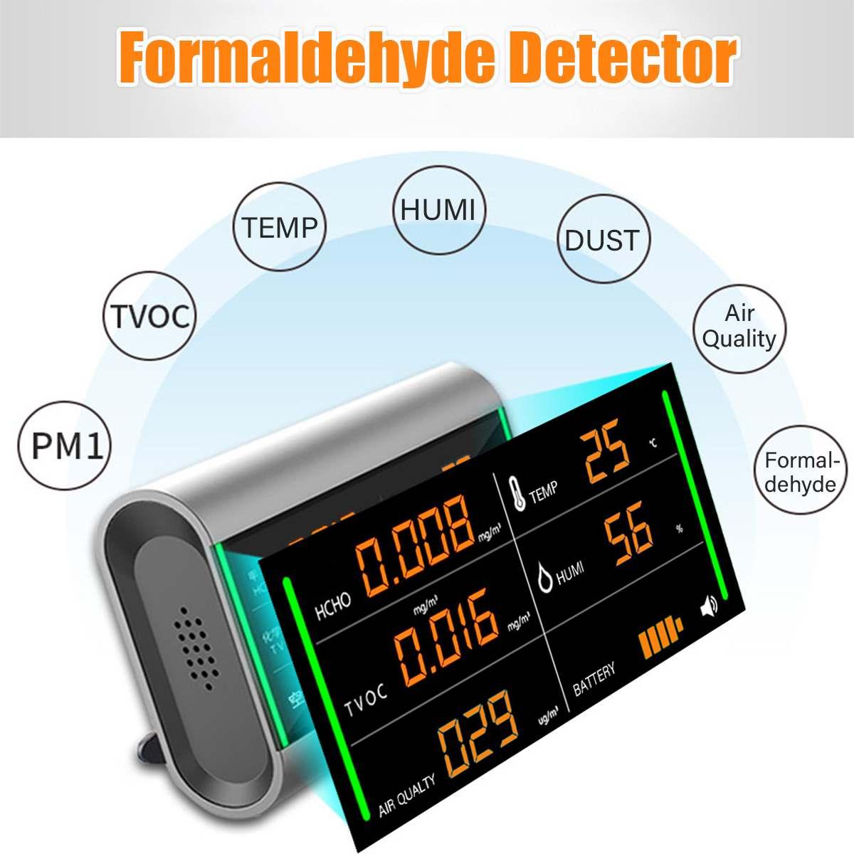 Détecteur de qualité de l'air de formaldéhyde de covt HCHO Rechargeable d'écran numérique testeur de moniteur de benzène/poussière/température/humidité