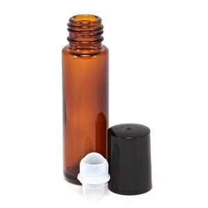 Image 4 - 10 Ml Lege Amber Dikke Glas Essentiële Olie Roll Op Fles Flesjes Deodorant Fles Met Metalen Rollerball Voor Parfum aromatherapie