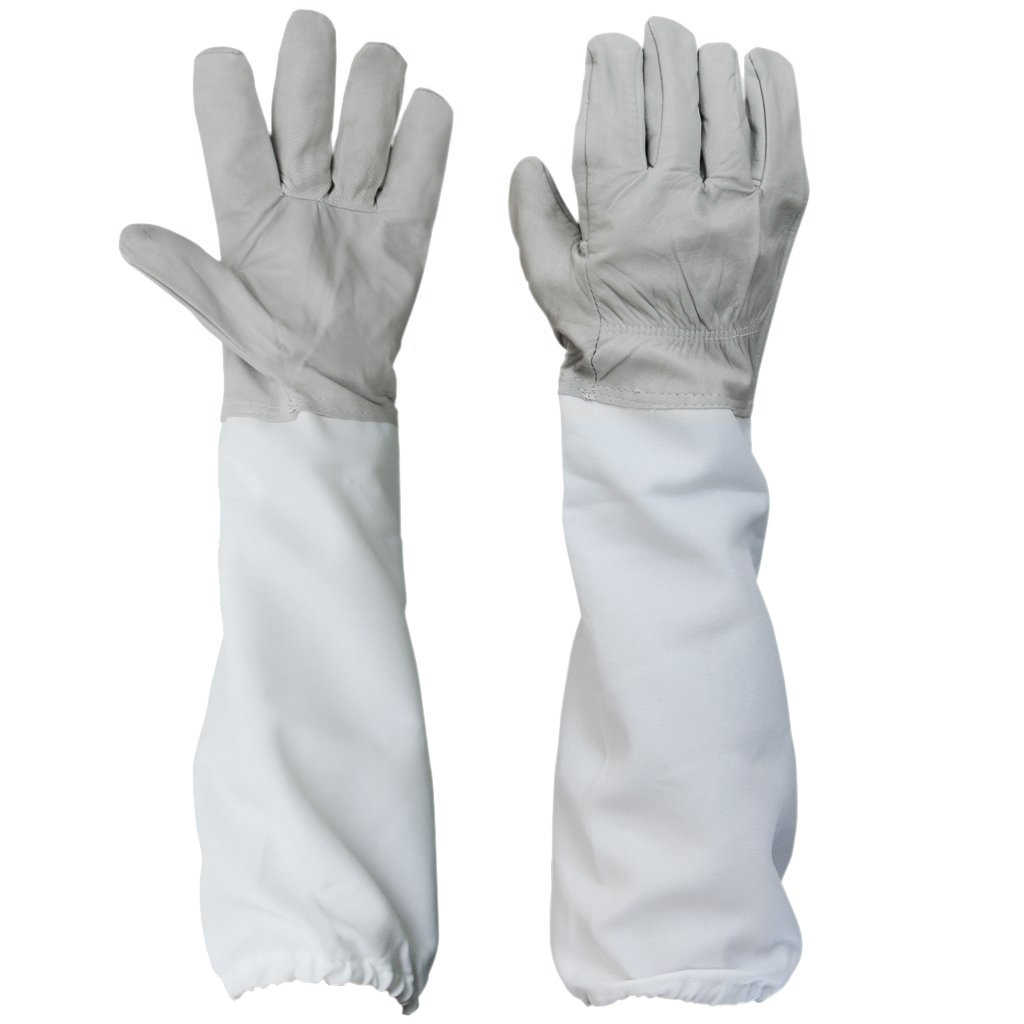 1 Pair of Gloves with Protective Sleeves ventilated Professional Anti Bee for Apiculture Beekeeper - gray and White
