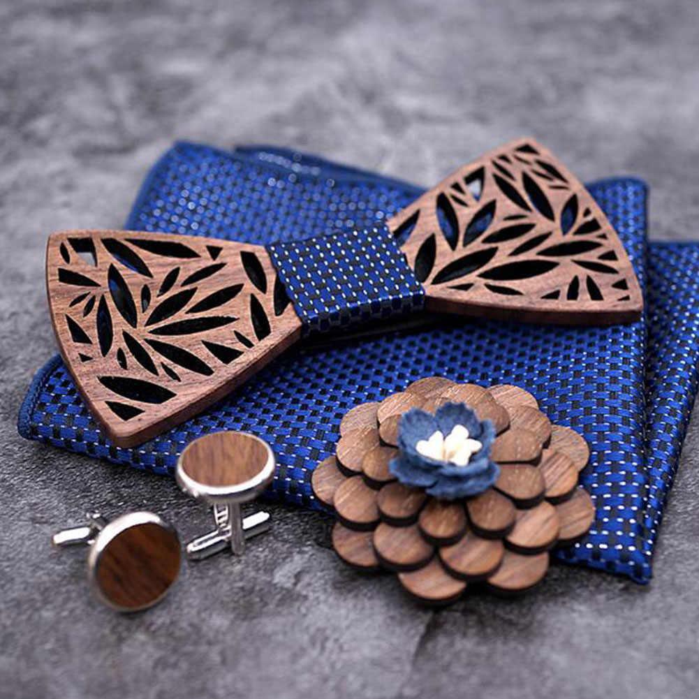 Kayu Dasi Saputangan Set Plaid Dasi Kupu-kupu Paisley Ukiran Kayu Berongga Memotong Desain Bunga dan BOX Fashion baru Dasi