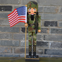 38cm Nutcrackers Colletct Orignal Wood Hand Made American Army Soldier With Usa Flag And Ak Gun Home Decoration Crafts