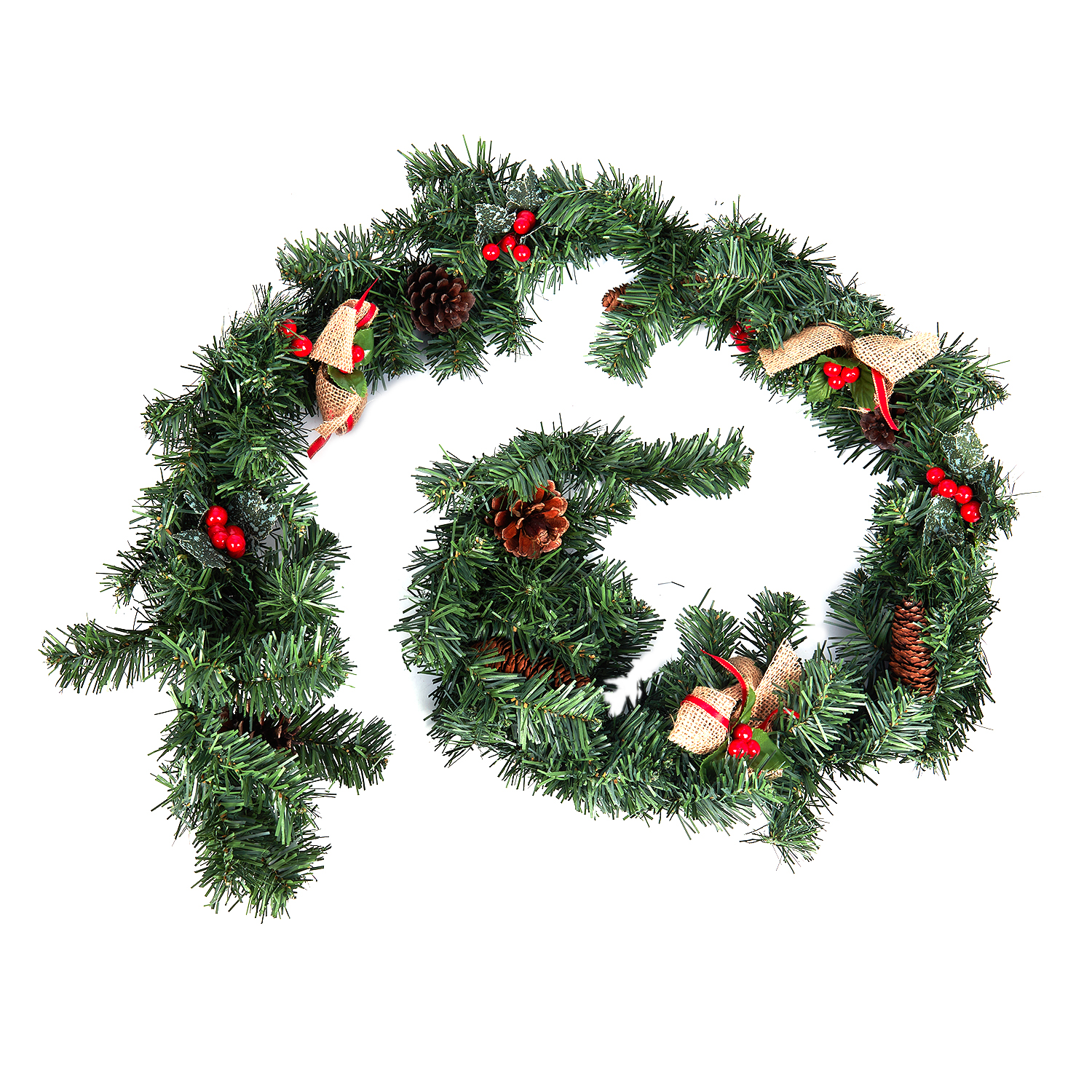 Christmas Garlands.Us 11 31 13 Off 1 8m 6ft Christmas Garlands For Fireplaces Artificial Wreath Garland With Berries Pinecones And Burlap Bowknots Xmas Decoratio In