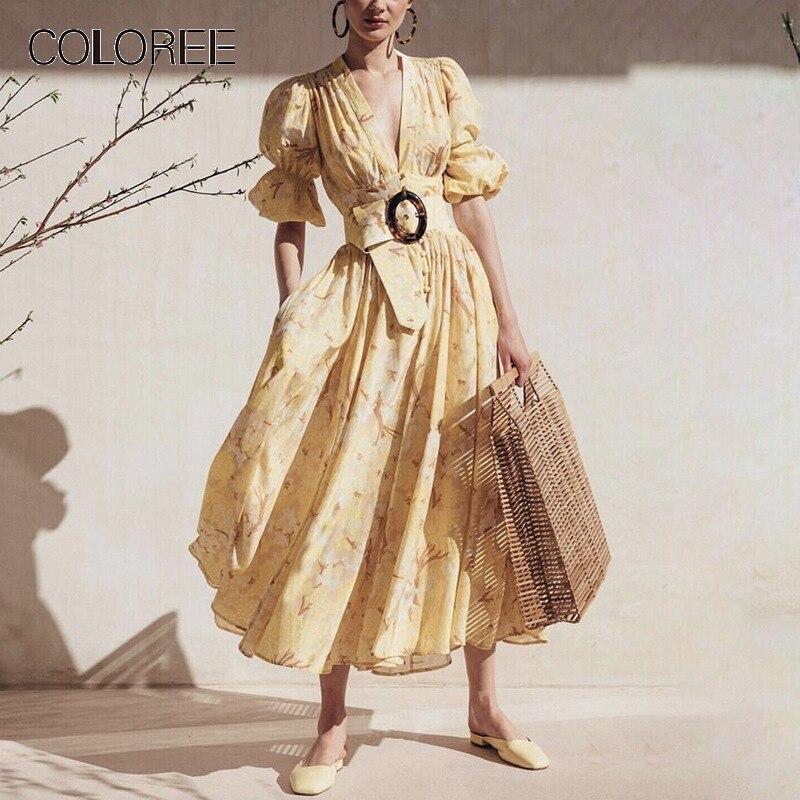 COLOREE Chic Vintage robe mi-longue 2019 été élégant jaune/blanc col en v manches bouffantes gros ourlet robe simple-boutonnage vacances robe