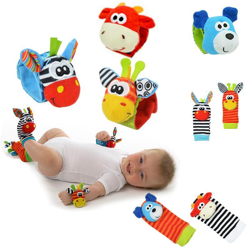 Baby Rattles Toys Animal Socks Hand Strap Wrist Bell Foot Sock Rattles Animal Rattles Cartoon Educational Toy
