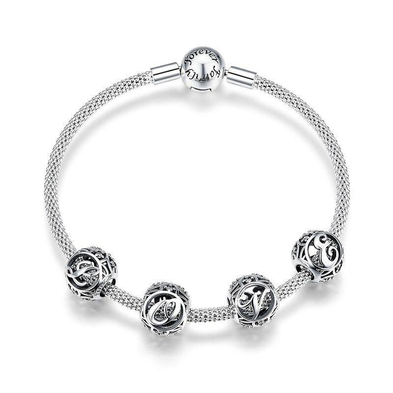 Trendy New 925 Sterling Silver Letter Alphabet Charms Forever Love Clasp Snake Bracelets for Women Silver Jewelry SCB815 BAMOER