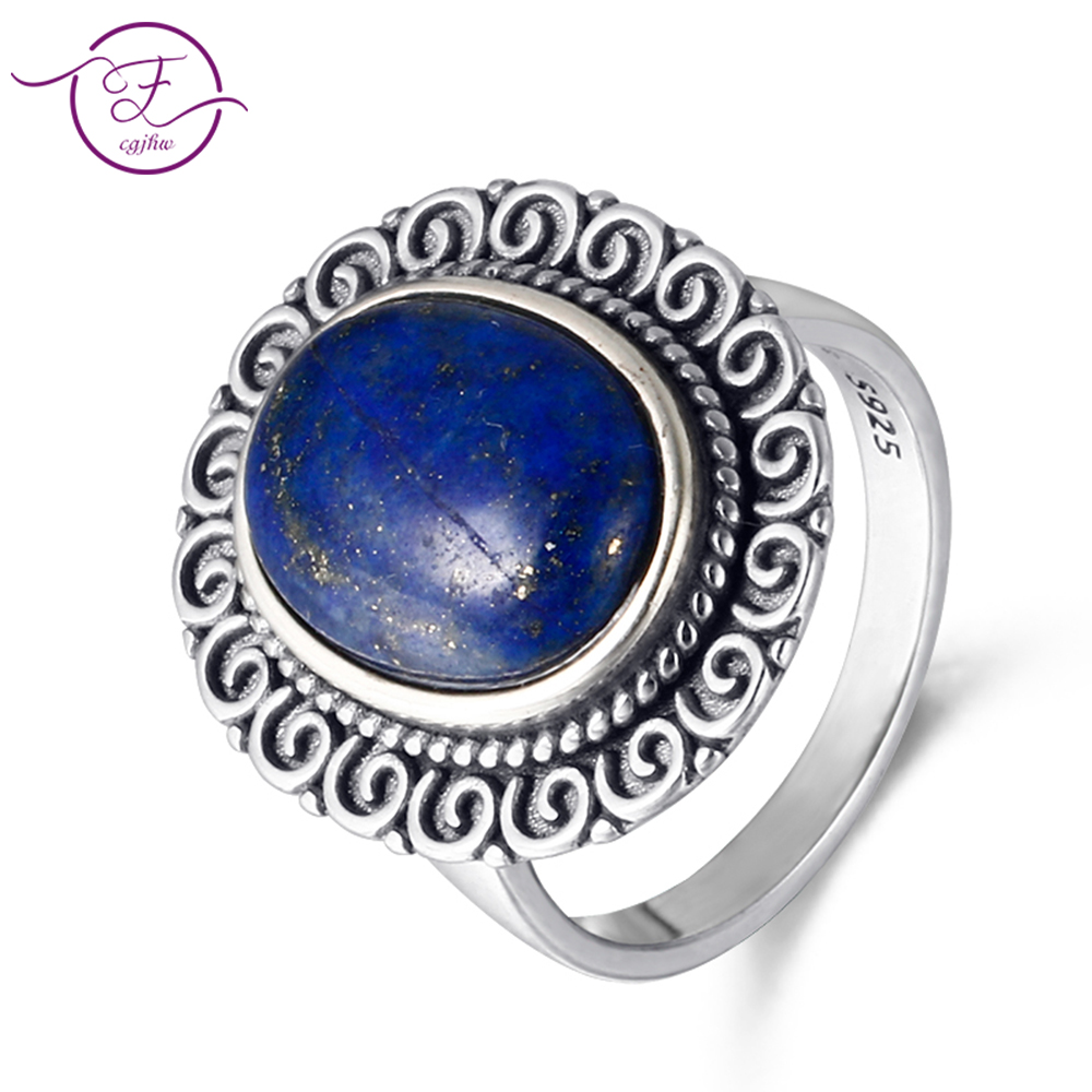 Women 39 s 925 Sterling Silver10x14MM Oval Natural Rainbow Lapis Rings Jewelry Ring Vintage Anniversary Party Gifts For Women in Rings from Jewelry amp Accessories