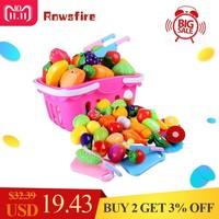 Rowsfire 37Pcs Funny Children Pretend Play Toy Kid's Kitchen Emulational Vegetables Fruits Cutting Kitchenware Set For Kids Kot