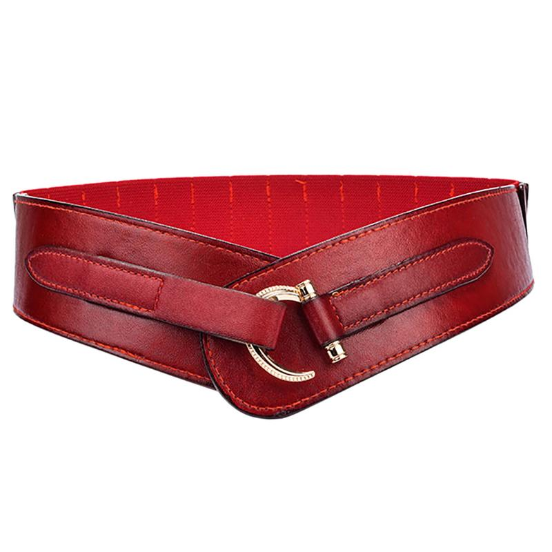 MISS M Women's Retro Slim Fit Elastic Wide Belt Waistband Fashion Solid Color Red PU Waspie Corset Girdle Belt Female