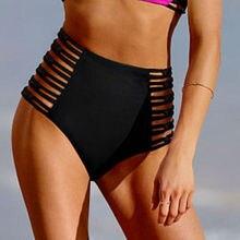 Женские винтажные Трусики-бикини с высокой талией, купальник с цветочным принтом, с вырезами, бандаж, женский купальник, плавки, пляжная одежда