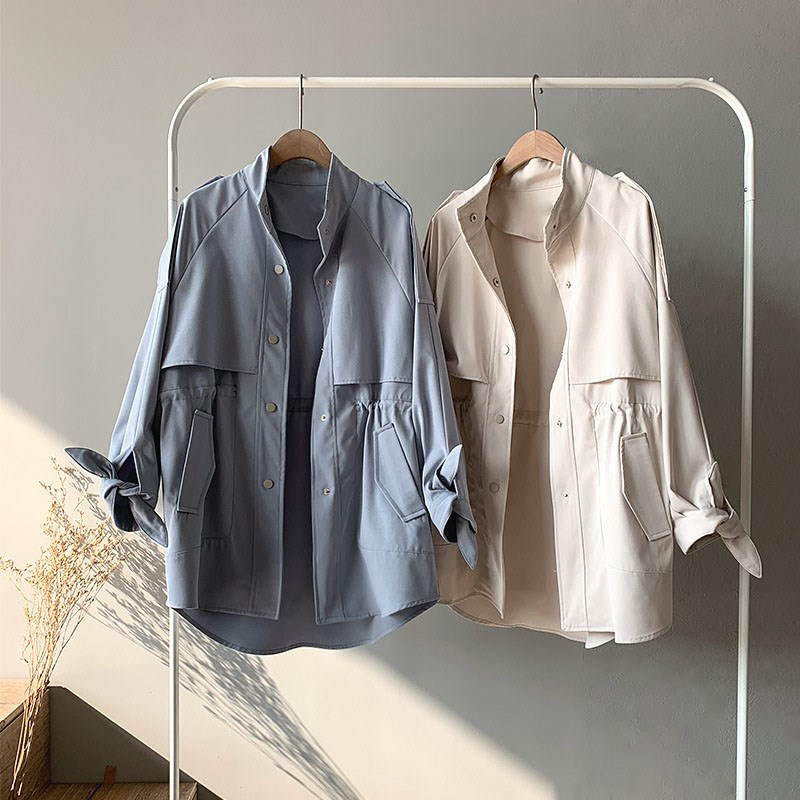 Spring Women Long Straight   Trench   Coat Streetwear Poacket Long Sleeve Blue Color Outwear Coat