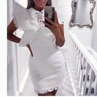 Summer Women White Party Dress Vestidos Sexy Sleeveless Ruffles Tassel Black Mini Dress Bodycon Club Dress