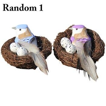 54875e7e7 1 Juego de adornos de Pascua incluye Nido de Pájaro falso huevos adorno de  escritorio para decoración del hogar tipo aleatorio
