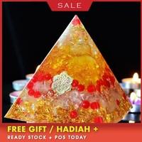 AURA REIKI Orgonite Natural Citrine Pyramid Energy Converter Decoration Aura Crystal Exorcise Evil Spirits Jewelry Crafts Gift