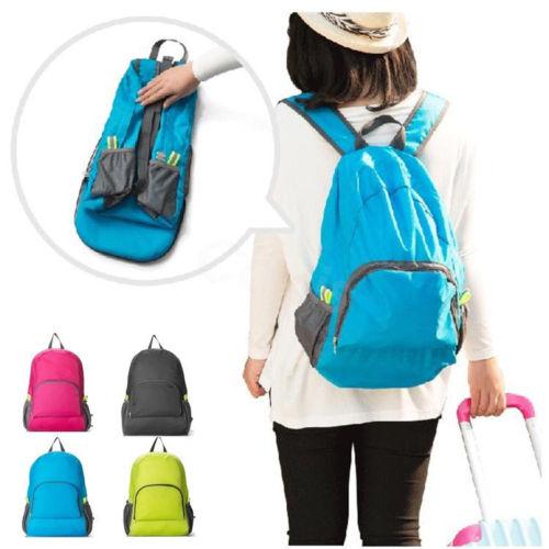 Men's Women's Universal Travel Backpack Portable Light Foldable Solid Color Casual Backpack Shoulder Bag
