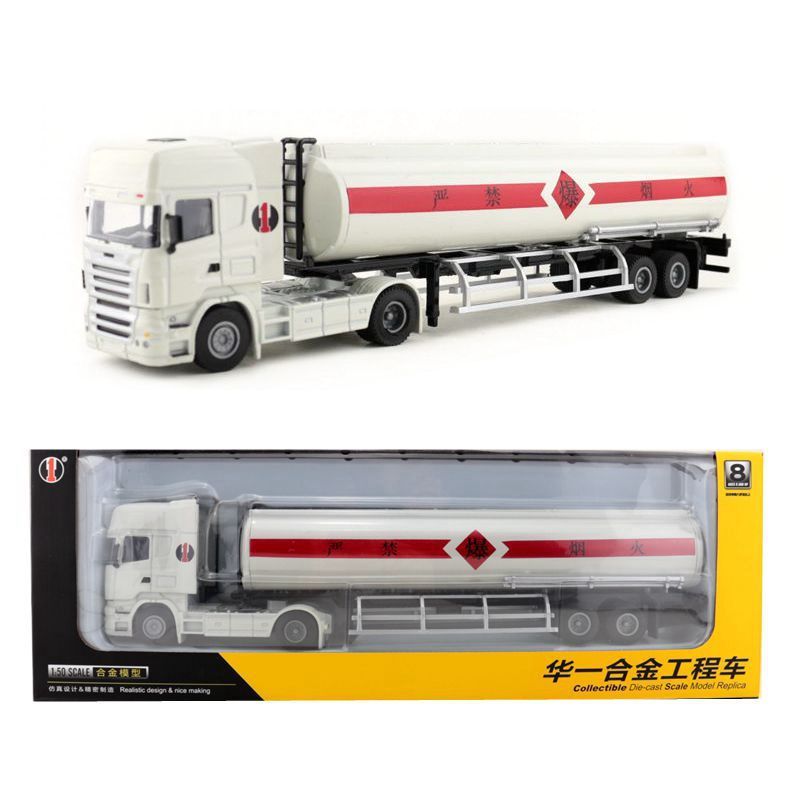 1:50 Scale/Diecast Metal Model/Heavy Oil Tank Container Transport Truck Car/Engineering Toy/Educational Collection For Kid/Gift