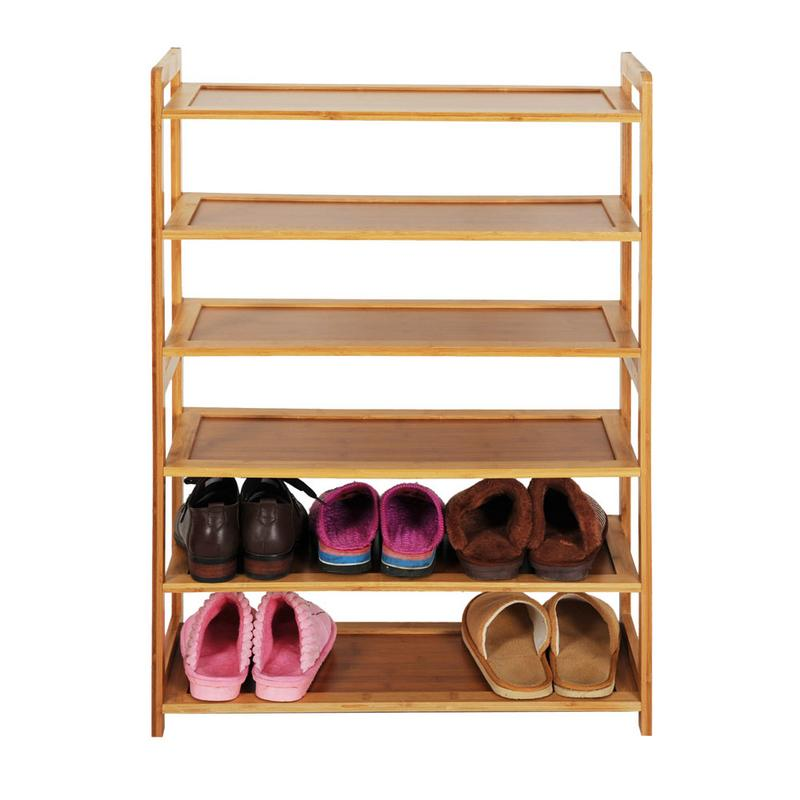 Concise Rectangle 6 Tiers Bamboo Shoe Rack Wood Color Log Color Classic Home Door Convenient Shoe Rack