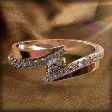 цена на Zircon Crystal Ring Female Accept Custom Jewelry Gift 14K Rose Gold Ring for Women Girls Statement Anillos De Bizuteria Diamante