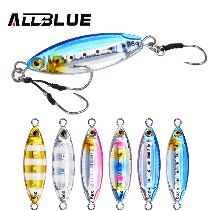 ALLBLUE New SLOWER OVAL Metal Slow Jig Cast Spoon 28G 40G 60G Artificial Bait Shore Fishing Jigging Lead Metal Fishing Lure