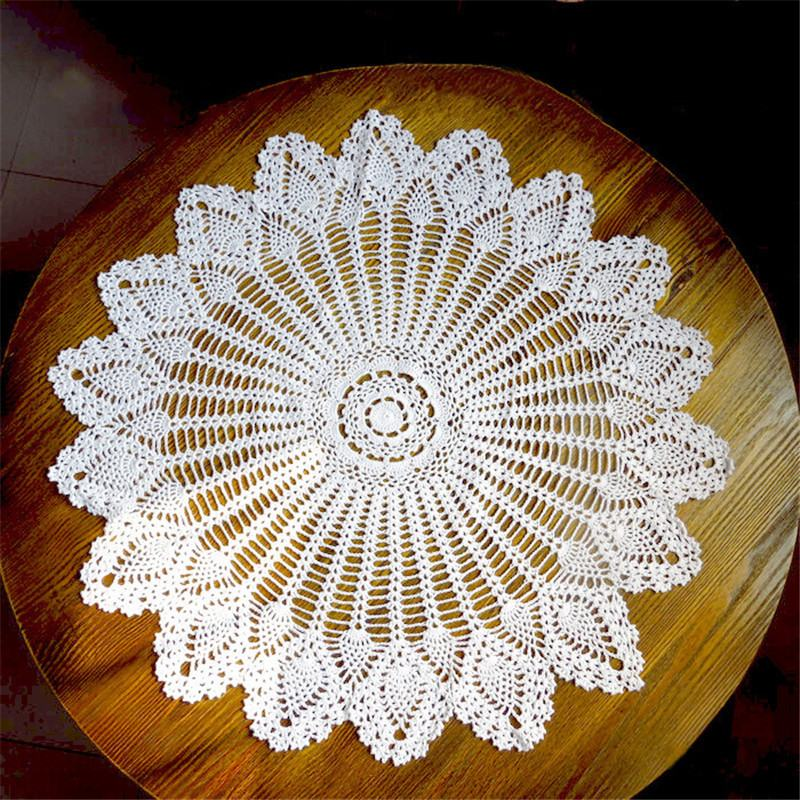 Tireless 32 Hand Crochet Lace Round Table Topper Cloth Runner White Cotton Wedding Home Decor Knit Flower Tablecloth Cover Beige/white Table & Sofa Linens Tablecloths