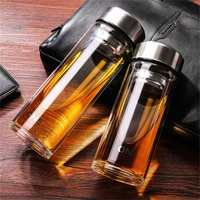 800/1000ML Business Type Water Bottle Glass Bottle with Stainless Steel Tea Infuser Filter Double Wall Glass Sport Water Tumbler