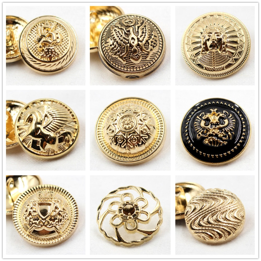 YJHSMY 10pcs golden in gold world famous classic buttons
