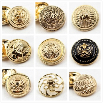 10pcs, golden gold button in gold, the world famous classic brand buttons, clothing accessories