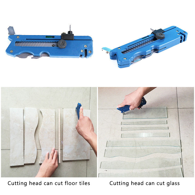 1pcs Glass Tile Cutter Six Wheel Metal Cutting Kit Tool With Measure Ruler Blade Sharpener Multi-function Cutter For Tile