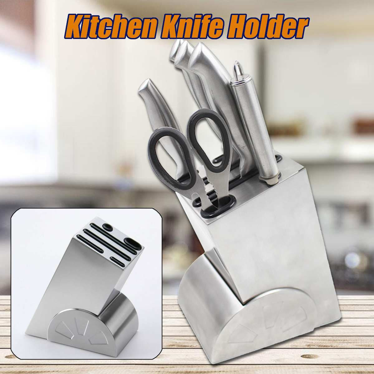 Kitchen Knife Block Knives Holder Organizer Metal Rack Storage Block Stainless Steel Knife Rest Shelf Tools Packing Accessories