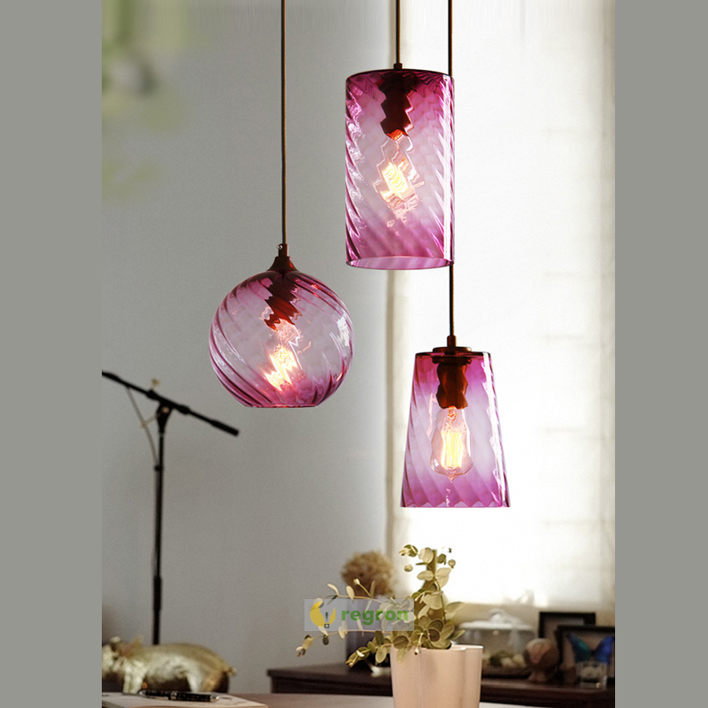 Bar checkout counter Color glass shade Pendant Light for Restaurant Simple Nordi