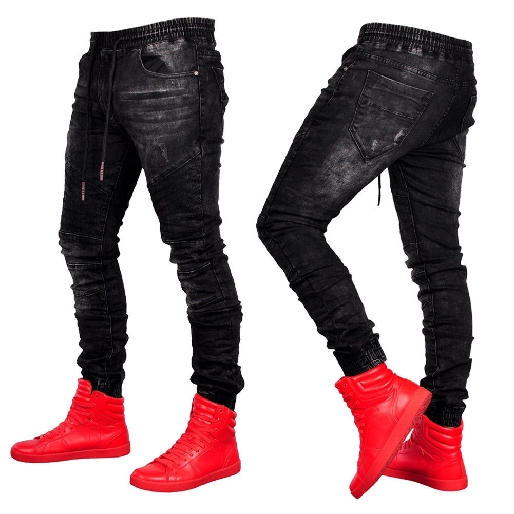 Men Skinny   Jeans   Elastic Waist Drawstring Black   Jeans   Slim Fit Trouser Pants Fashion Casual Denim Jogger Pants