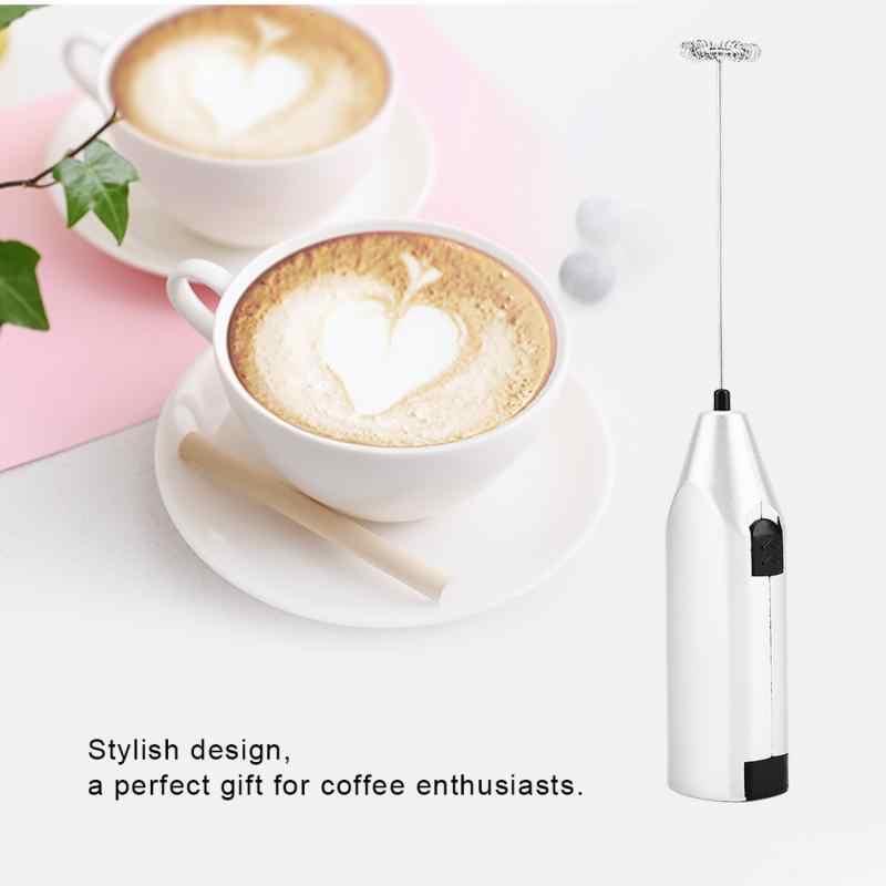 Mola de Aço Inoxidável Batedor de Leite portátil Mini Elétrico Café Liquidificador Batedor de Ovo Whisk Handle Foam Criador Ferramenta Alimentação