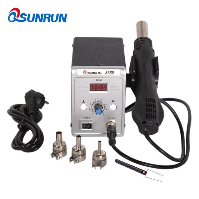 Qsunrun 700W BGA / IC 뜨거운 공기 총 실버 858D ESD 납땜 역 LED 디지털 디스플레이 SMD Desoldering 역 LCD 수리 도구