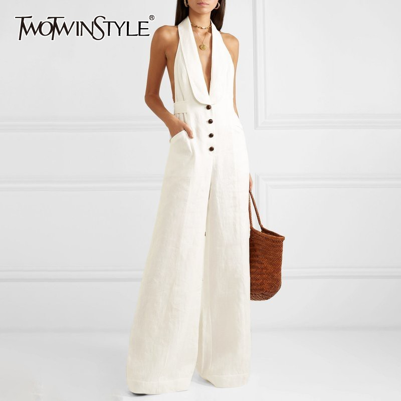 TW0TWINSTYLE Solid Off Shoulder Sexy   Jumpsuit   Women Halter Button High Waist Big Size Wide Leg Pants Female Spring Fashion 2019