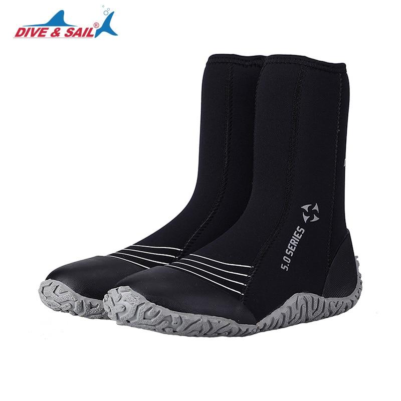 DIVE&SAIL 5mm Neoprene High Upper Vulcanization Scuba Dive Boots Cold Proof Anti-slip Water Shoes Winter Swim Fins 4 Colors