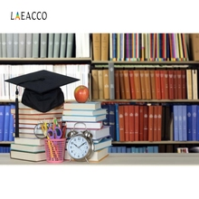 Laeacco School Bookshelf Bachelor Cap Backdrop Photography Backgrounds Customized Photographic Backdrops For Photo Studio