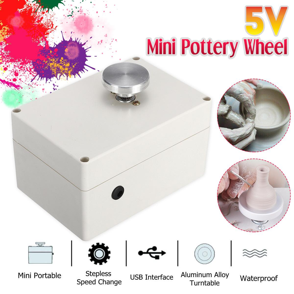 Pottery Wheel Electric 5V Mini USB Ceramic Machine For Clay Art Work Crafts DIY Manual Control Speed Stepless Carried Smooth