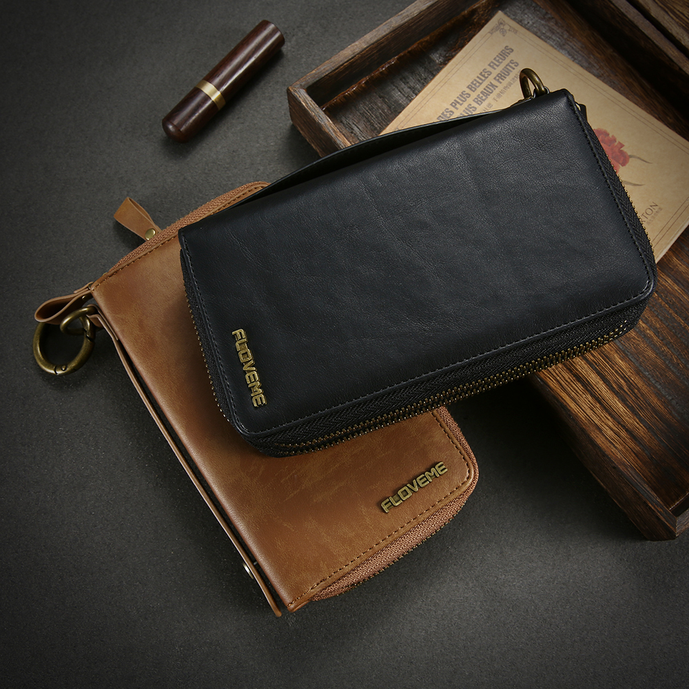 FLOVEME PU Punch Leather Case for iPhone 8 8 Plus Card Wallet Case For iPhone 6 6S 7 6 Plus 6S Plus 7 Plus Phone Bags Cases