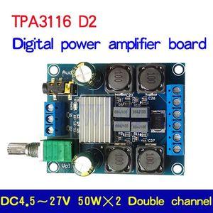 Image 1 - Tpa3116d2 50w + 50 amplificador de potência estéreo digital placa amplificador áudio para 12v 24v carro 50w * 2 100w