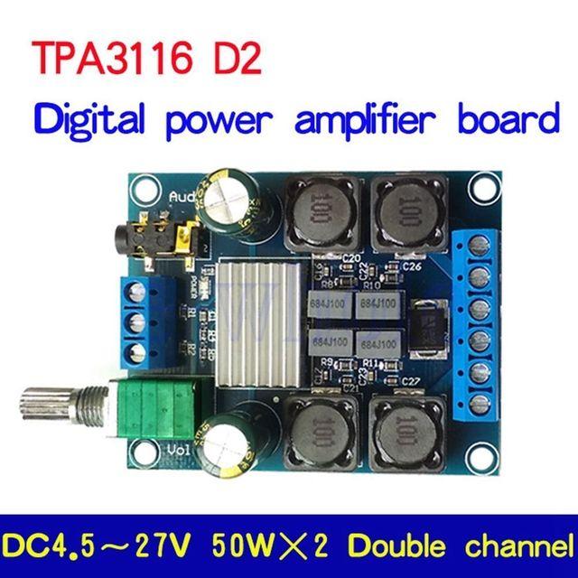 Tpa3116d2 50w + 50 amplificador de potência estéreo digital placa amplificador áudio para 12v 24v carro 50w * 2 100w