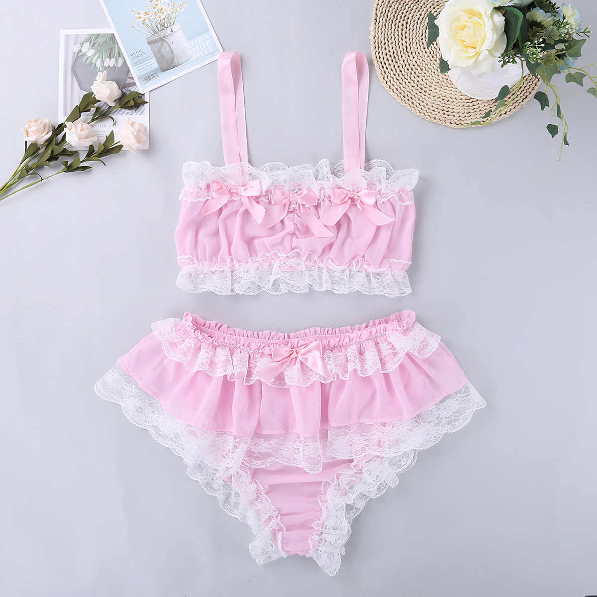 ... TiaoBug Men Ruffle Lace Sheer Chiffon Crossdressing Sissy Lingerie Set  Men Bra Top Skirted Panties Briefs ...