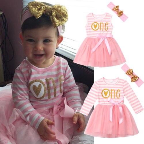 100% QualitäT Nette Neugeborene Baby Mädchen Kleider Ein Geburtstag Tüll Kleid Outfits Kleidung Eine GroßE Auswahl An Farben Und Designs