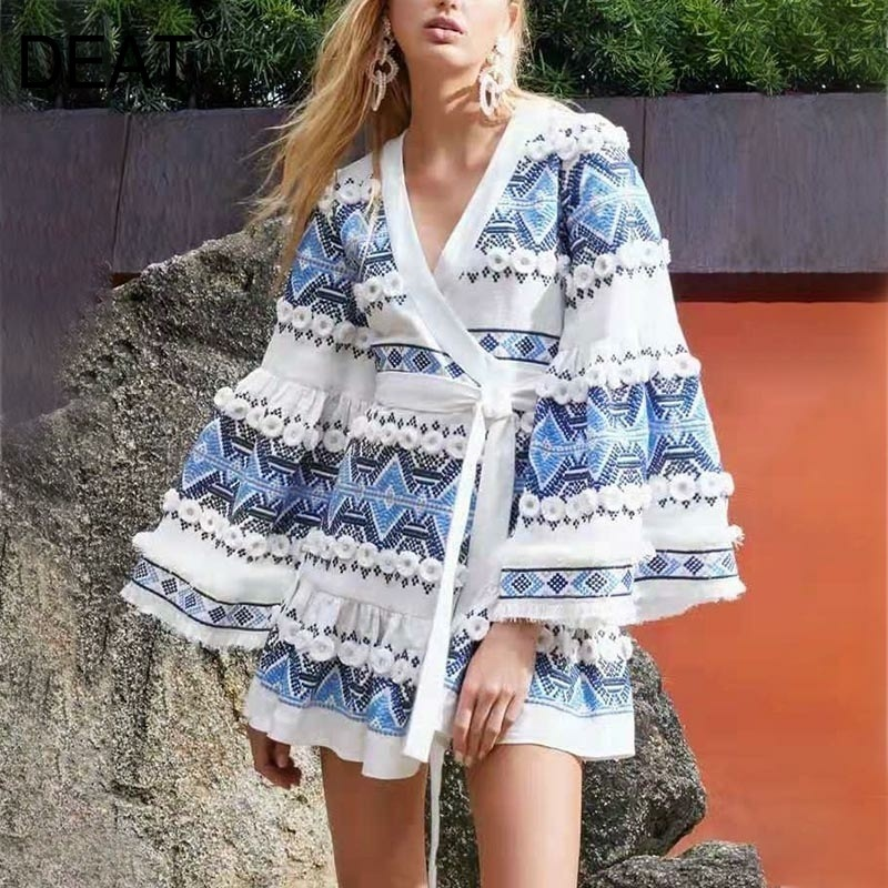 DEAT 2019 new summer sexy V neck flare sleeves contrast corlos hgih waist loose length female