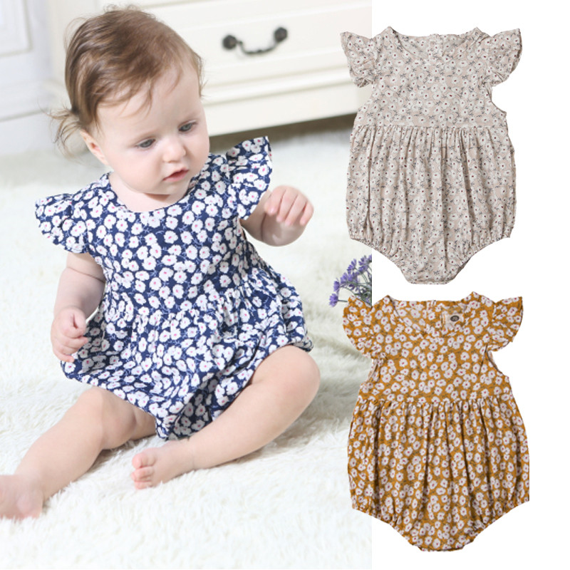 2019 Newborn Baby Girls Floral Romper Jumpsuit Bodysuit Outfits Party Clothes Summe Baby Girl Rompers Spring Princess