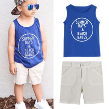 цена на Infant Clothes Toddler  Summer Baby Boys  Letter Print  Clothing Set Children Sport Kid Suits Tracksuits Cotton Vest + Pants