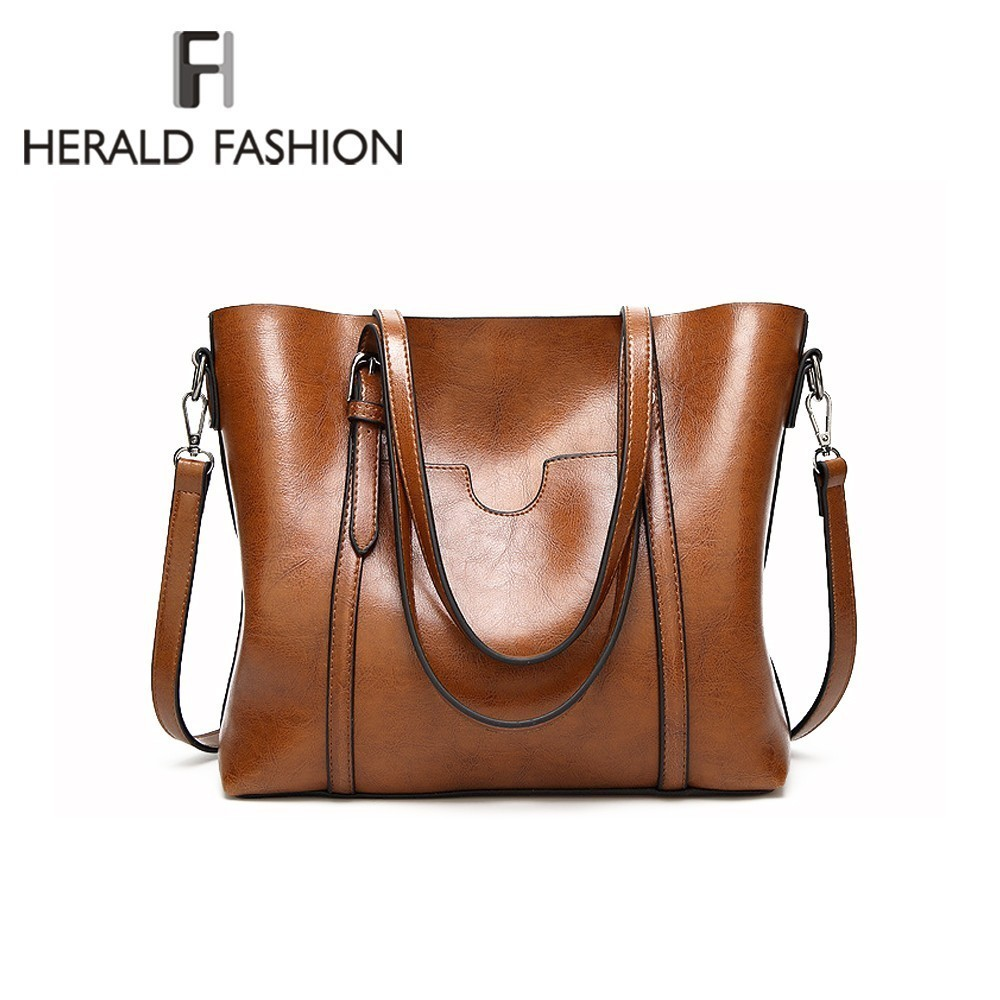Herald Fashion Large Capacity Women Tote Bag High Quality PU Leather Female Handbags Top-Handle Bags Women Shoulder Bag bolsa women fur handbags 2018 high quality printing women bags women pu leather shoulder messenger bags sweet tote bag bolsa lb340