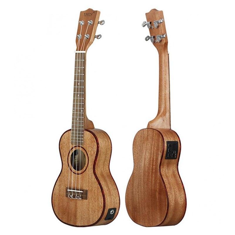 Ukelele eléctrico de 24 pulgadas con carcasa de abulón borde 18 traste, cuatro cuerdas, guitarra hawaiana, piezas musicales de captación EQ integradas