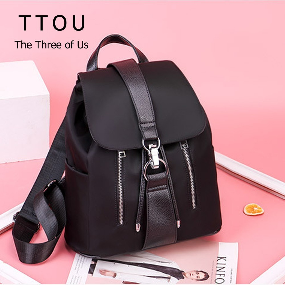 TTOU Black Highstreet Modern Lady Metal Ring Detail Zipper PU Backpack 2018 Fashion Streetwear Backpacks