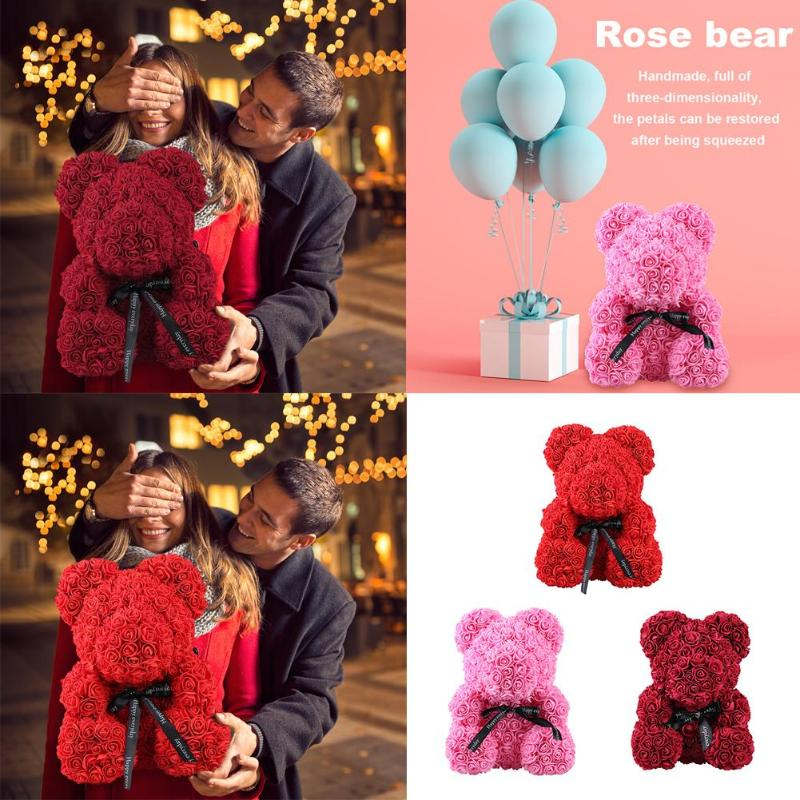 Rose Bear Toys Women Girls Flower Birthday Party Valentine Wedding Romantic Doll Gifts 2019 New Valentines Day Present Bath & Shower