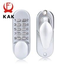 KAK 아연 합금 열쇠가없는 도어 잠금 기계 조합 잠금 안전 코드 잠금 도어 핸들 도어 하드웨어 잠금 가구